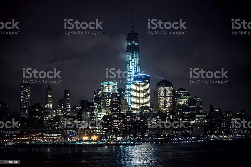 Lower Manhattan Financial District by Night - V royalty-free stock photo
