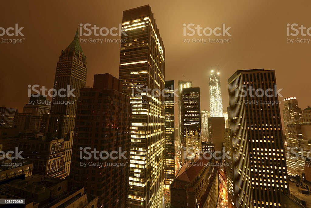 Lower Manhattan following Power Outage stock photo