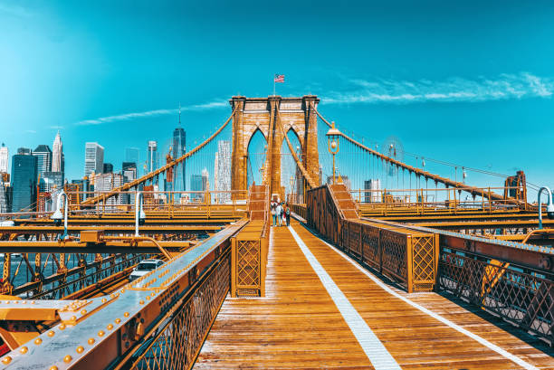 Lower Manhattan from Brooklyn Bridge which across the East Rive, between Manhattan and Brooklyn. New York. stock photo