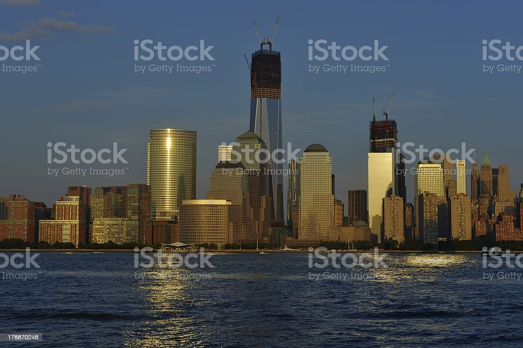 Lower Manhattan from New Jersey royalty-free stock photo