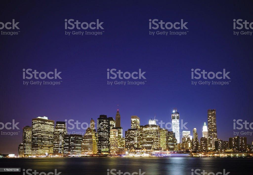 Lower Manhattan in New York City at night royalty-free stock photo