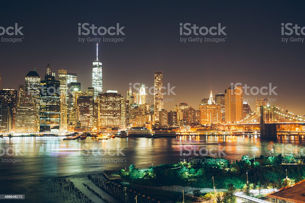 Lower Manhattan on East River Side stock photo