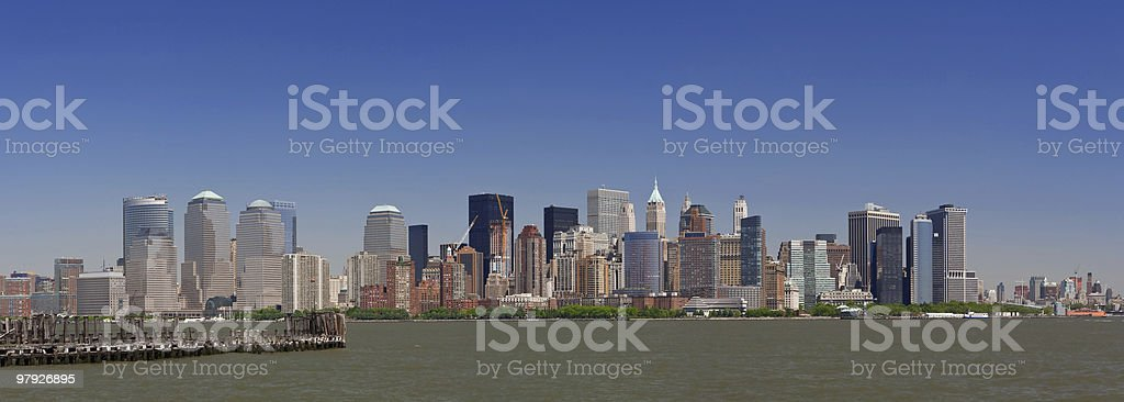 Lower Manhattan Panorama, Clear Blue Sky royalty-free stock photo