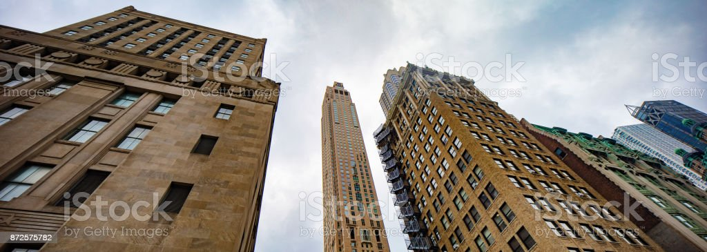 Lower Manhattan panoramic skyline with overcast sky stock photo