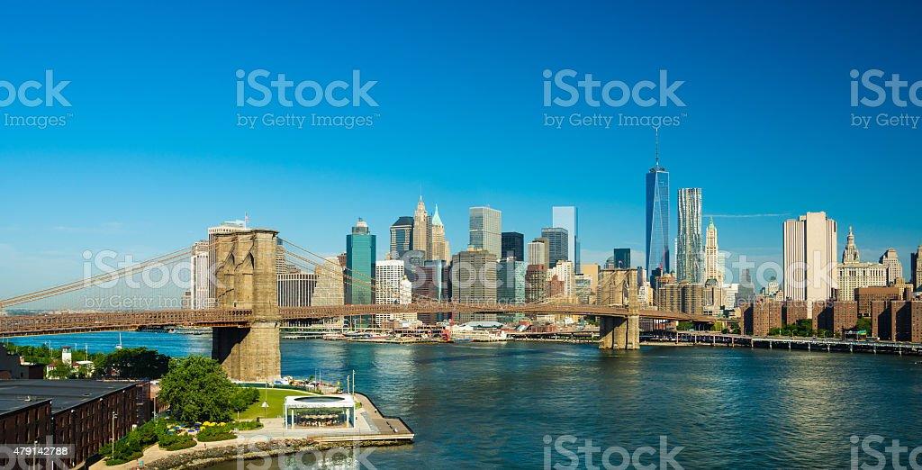 Lower Manhattan skyline and Brooklyn Bridge elevated view stock photo