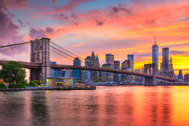 Lower Manhattan Skyline and Brooklyn Bridge stock photo
