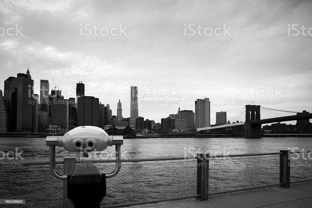 Lower Manhattan Skyline and Brooklyn Bridge royalty-free stock photo