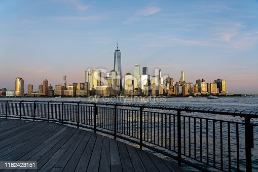 New York City, United States - September 18, 2019: Lower Manhattan skyline at night. View from Jersey City.