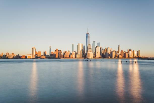 Lower Manhattan Skyline at Sunset stock photo