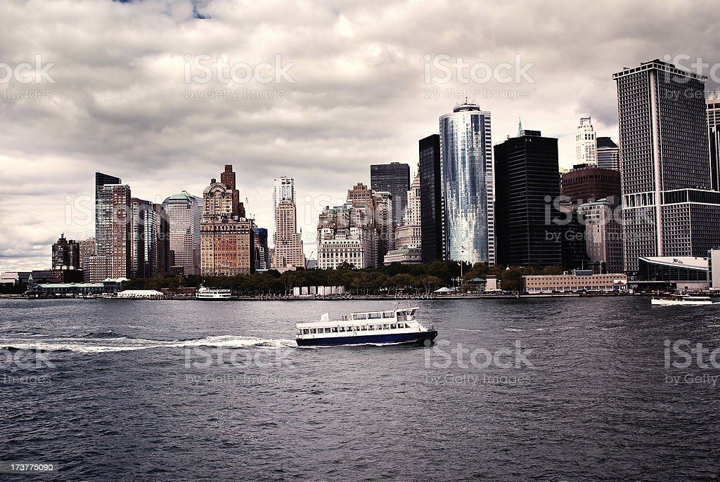 Lower Manhattan Skyline in New York City with East River royalty-free stock photo