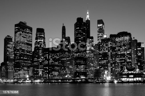 Financial district in the night. grain added.
