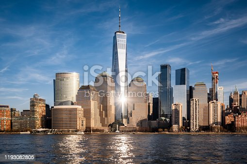 Lower Manhattan skyline on a sunny day.