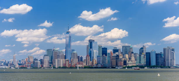 Lower Manhattan skyline View of the skyline of Lower Manhattan from the Upper Bay artistical stock pictures, royalty-free photos & images