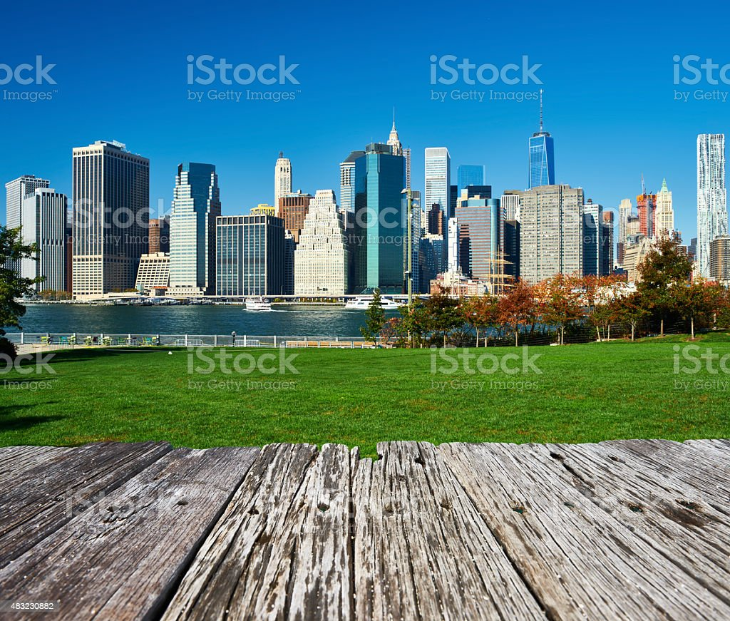 Lower Manhattan skyline view from Brooklyn stock photo