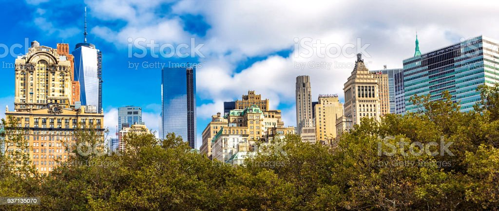 Lower Manhattan skyline view from ferry stock photo