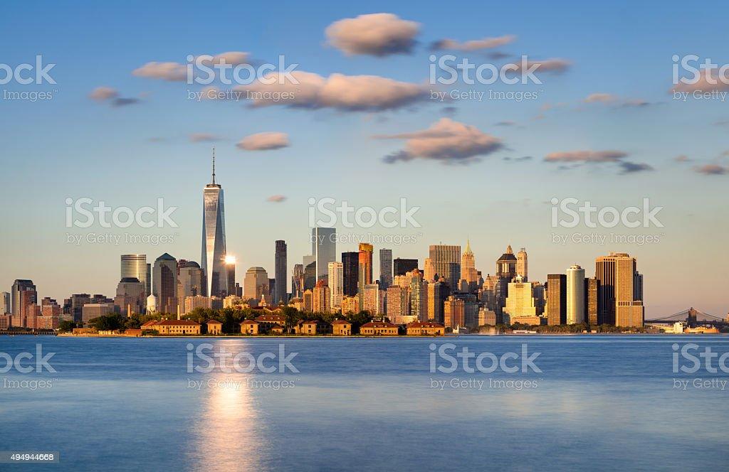 Lower Manhattan Skyscrapers at Sunset. New York City Skyline stock photo