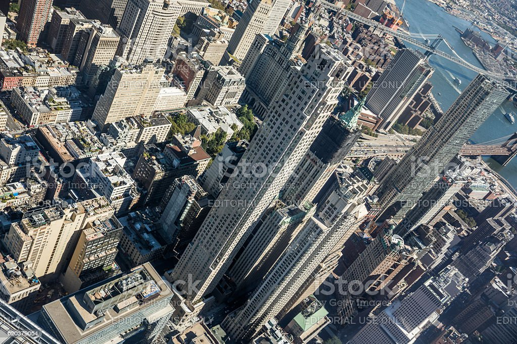 Lower Manhatten seen from above, New York City, USA foto de stock royalty-free