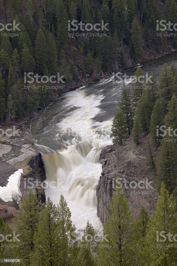 Lower Mesa Falls on Snake River in Teton Mountain Range stock photo
