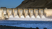 water dam view from above, renewable energy, aerial landscape
