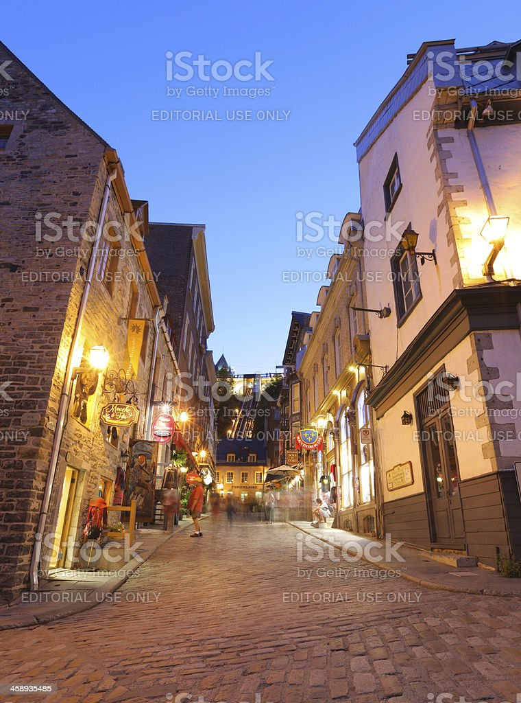 Lower Old Quebec Street at Sunset stock photo