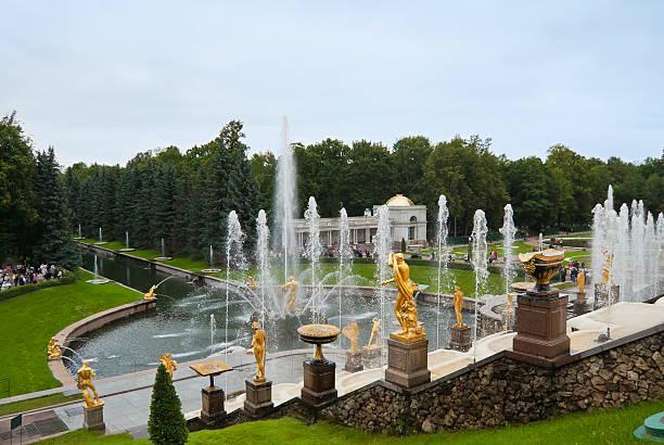lower park of the peterhof - peterhof stockfoto's en -beelden