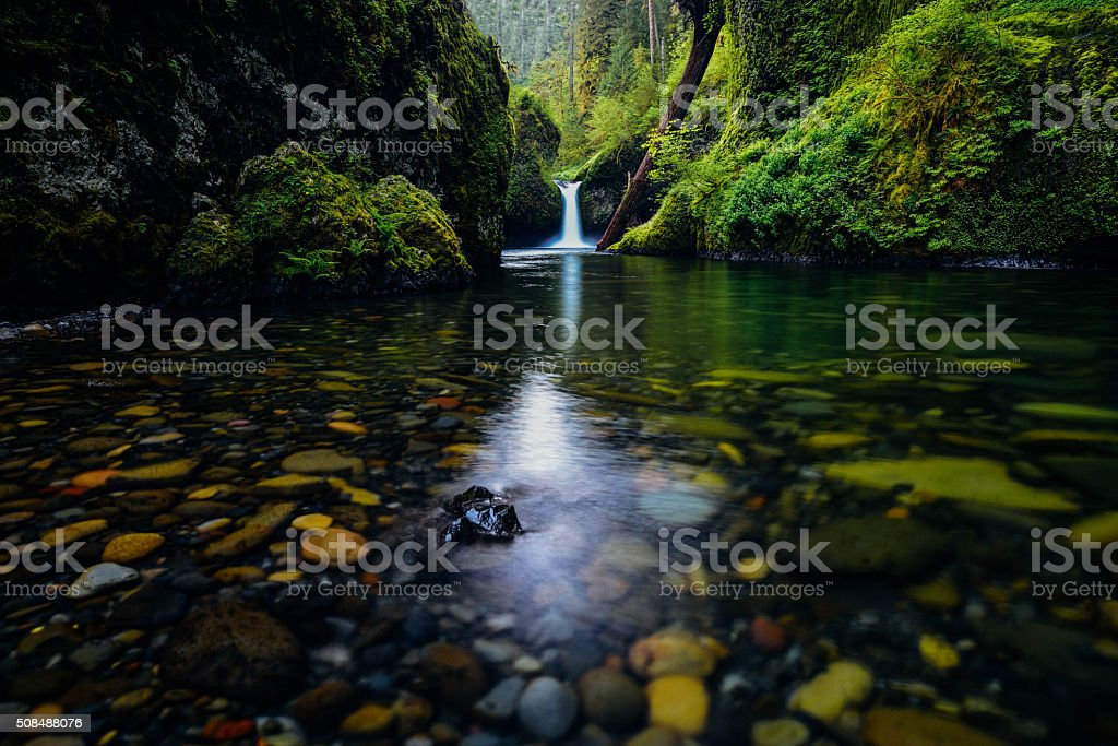 Lower Punchbowl Falls in Spring stock photo