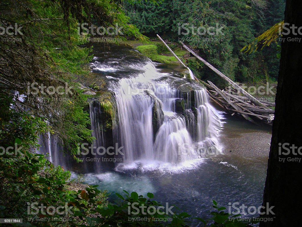 Lower Watefalls Flowing into Shallow Water royalty-free stock photo