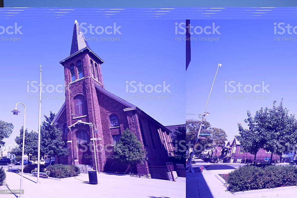 Lower West Side Chicago Church stock photo