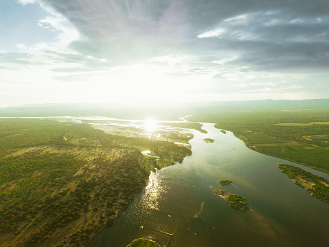drone view on the river of lower zambezi area in Zambia at sunset hour