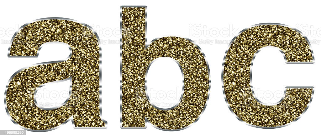 Lowercase Abc Letters Made Of Gold And Silver Frame Stock Photo ...