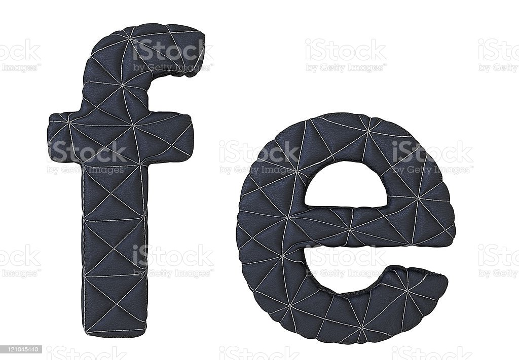 Lowercase stitched leather font f e letters royalty-free stock photo
