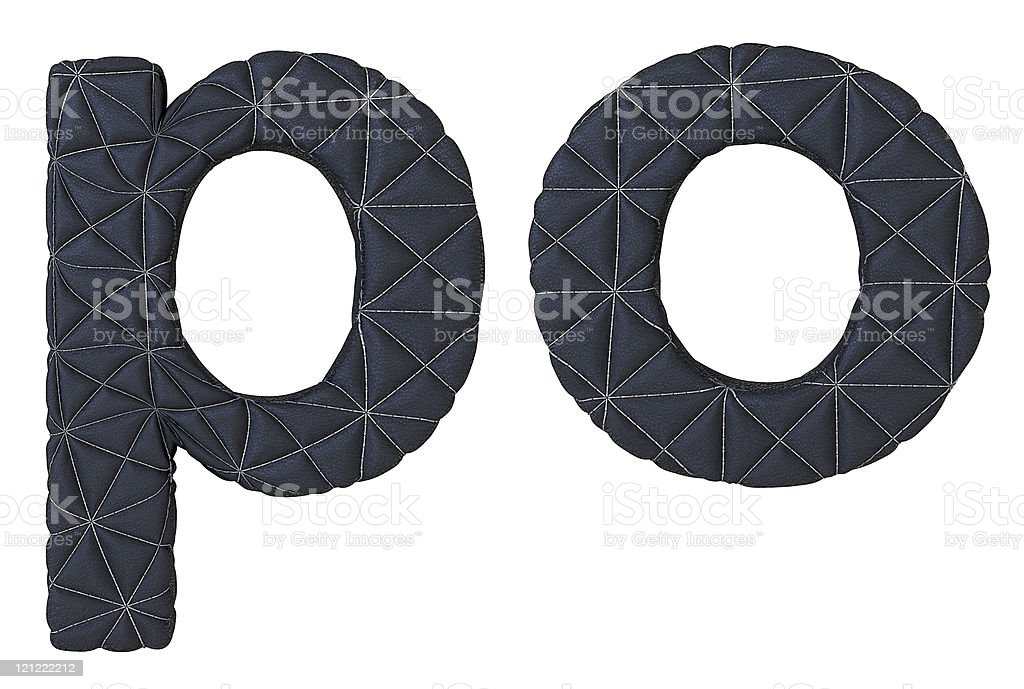 Lowercase stitched leather font p o letters royalty-free stock photo