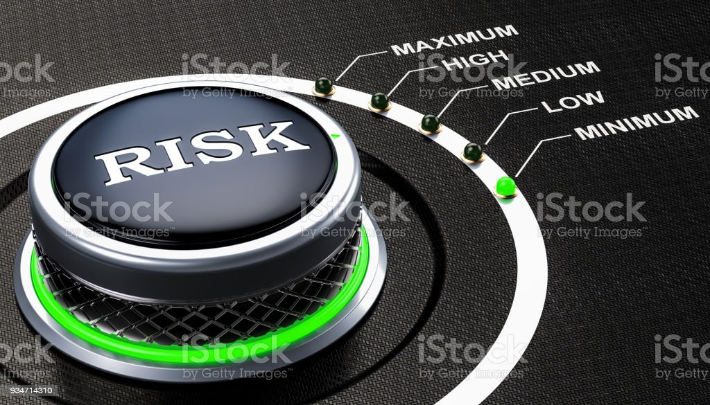 Lowest level of risk concept, knob. 3D rendering royalty-free stock photo