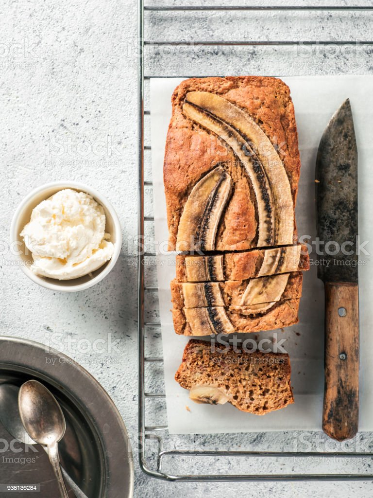 Low-fat banana bread, copy space, top view stock photo