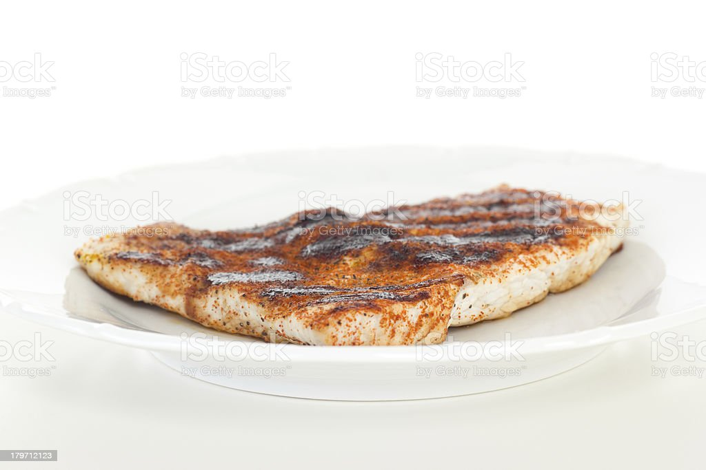 Low-fat chicken filet on white dish royalty-free stock photo