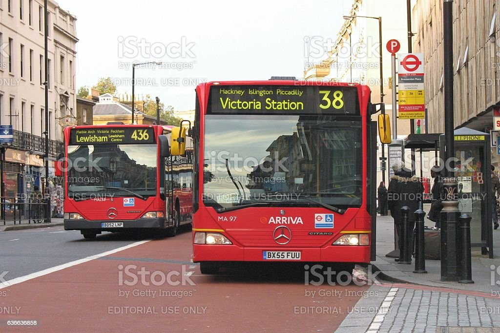 Low-floor city buses in London stock photo