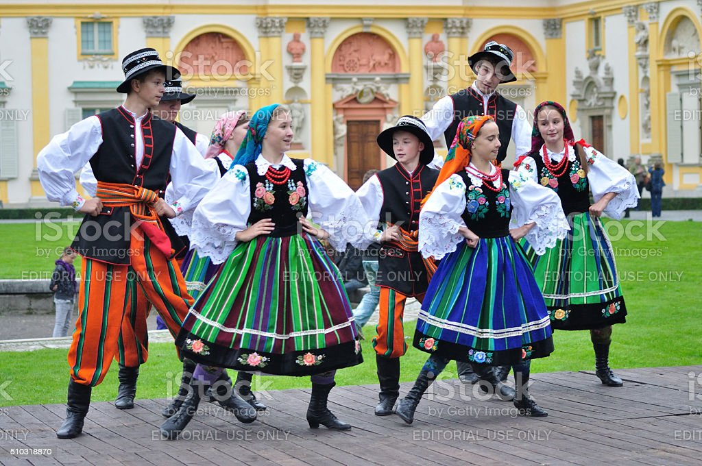 Lowicz folk dance stock photo