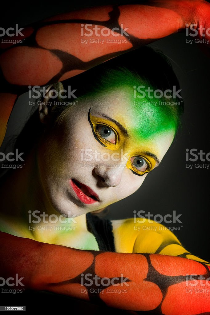 lowkey bodypainting girl royalty-free stock photo