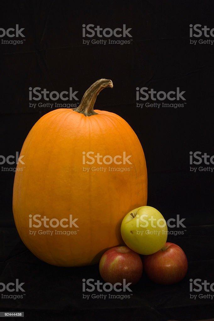 Low-Key Still life: Pumpkin & Apples stock photo