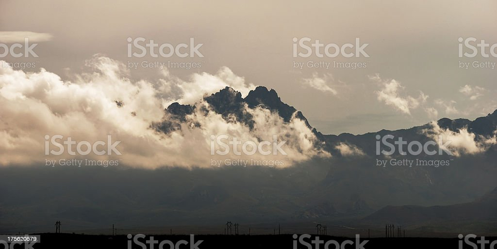 Low-Lying Clouds and Organ Mountains Near Las Cruces, New Mexico stock photo