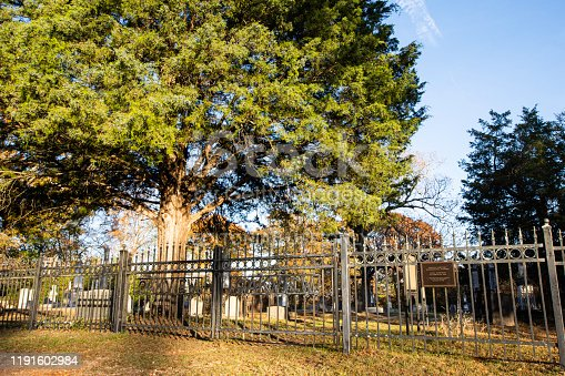 Lowndesboro, Alabama/USA-Nov. 25, 2019: Oakview Cemetery located next to Lowndesboro First Missionary Baptist Church in the historic district.