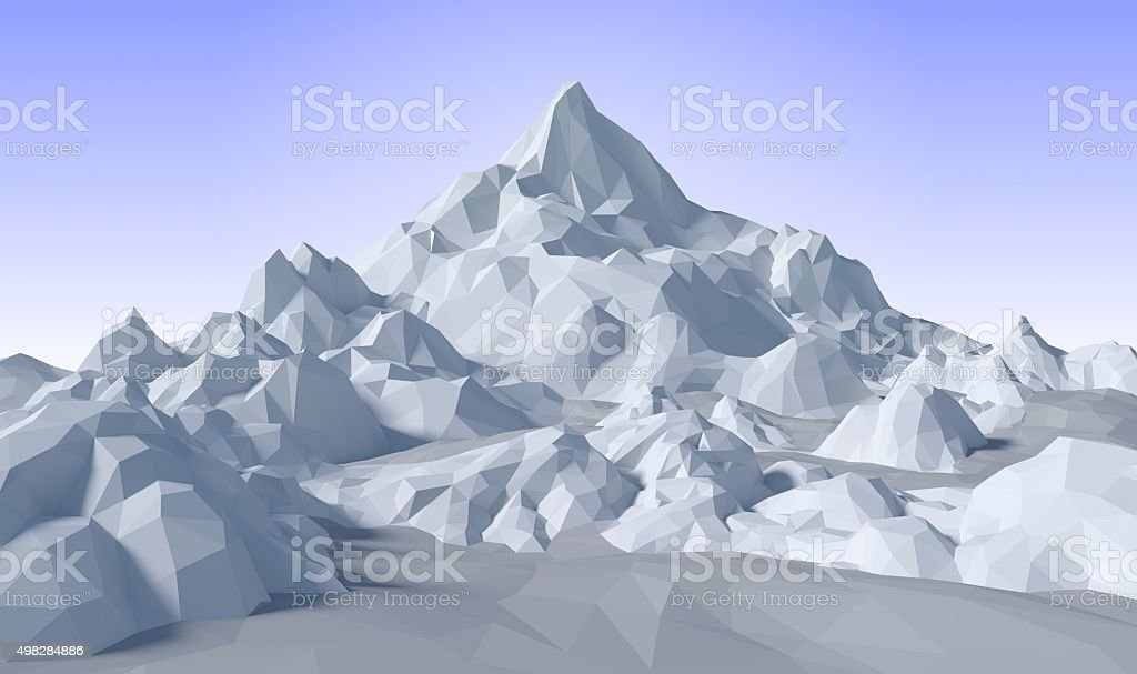 lowpoly abstract 3D landscape stock photo