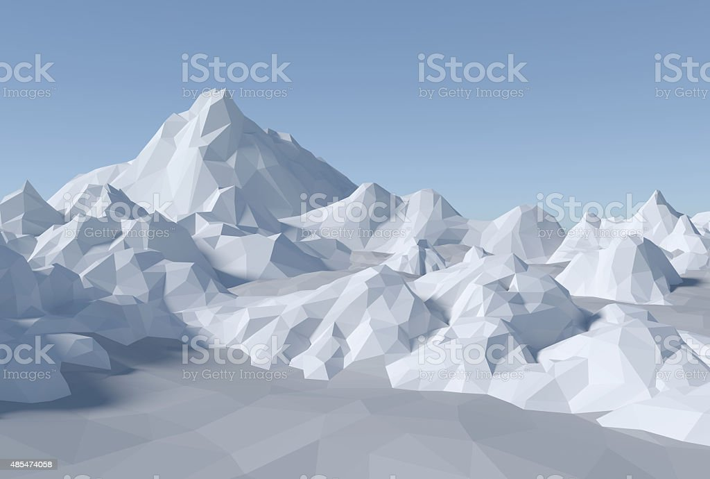 3D lowpoly abstract landscape stock photo