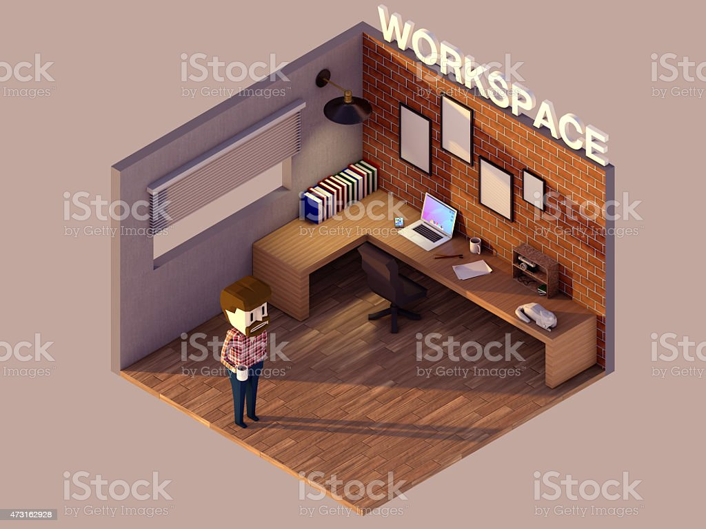 lowpoly workspace stock photo
