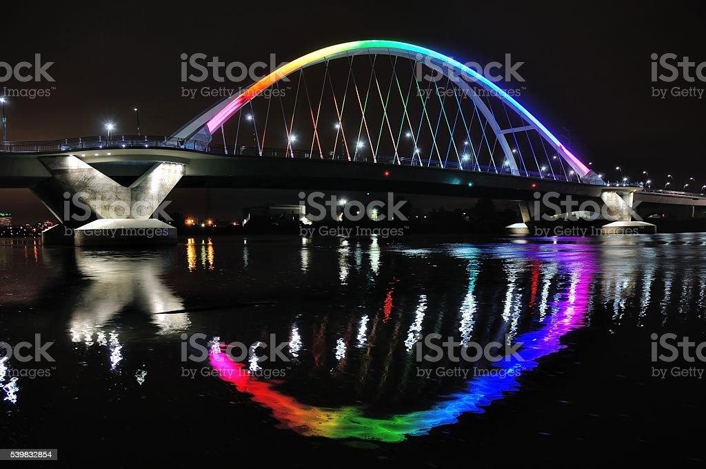 Lowry Avenue Bridge in Minneapolis lit in Rainbow Colors stock photo