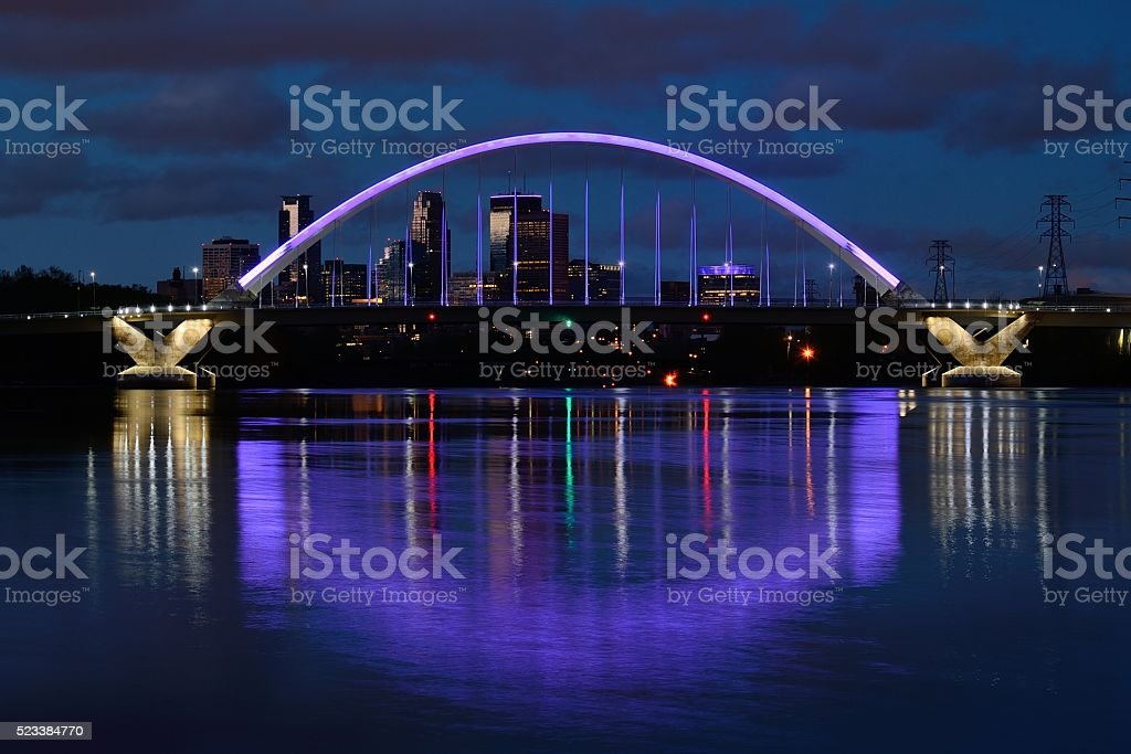 Lowry Avenue Bridge with Purple Lighting in Minneapolis stock photo
