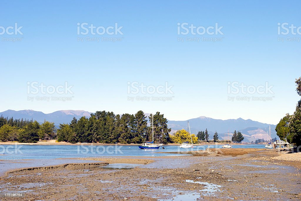 Lowtide on Mapua Estuary, Nelson, New Zealand stock photo