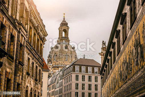 Low-View From The Alley Of Frauenkirche in Dresden, Germany