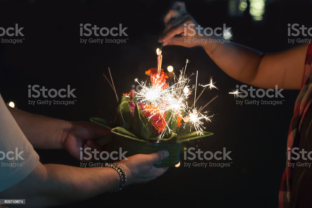 Loy Krathong festival in Thailand stock photo