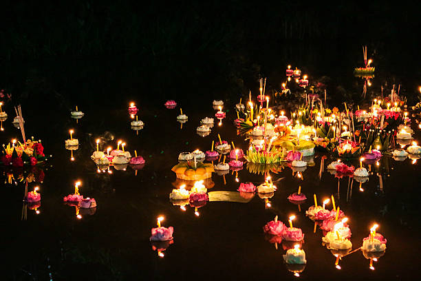 loy krathong festival, thailand - kratong stock photos and pictures